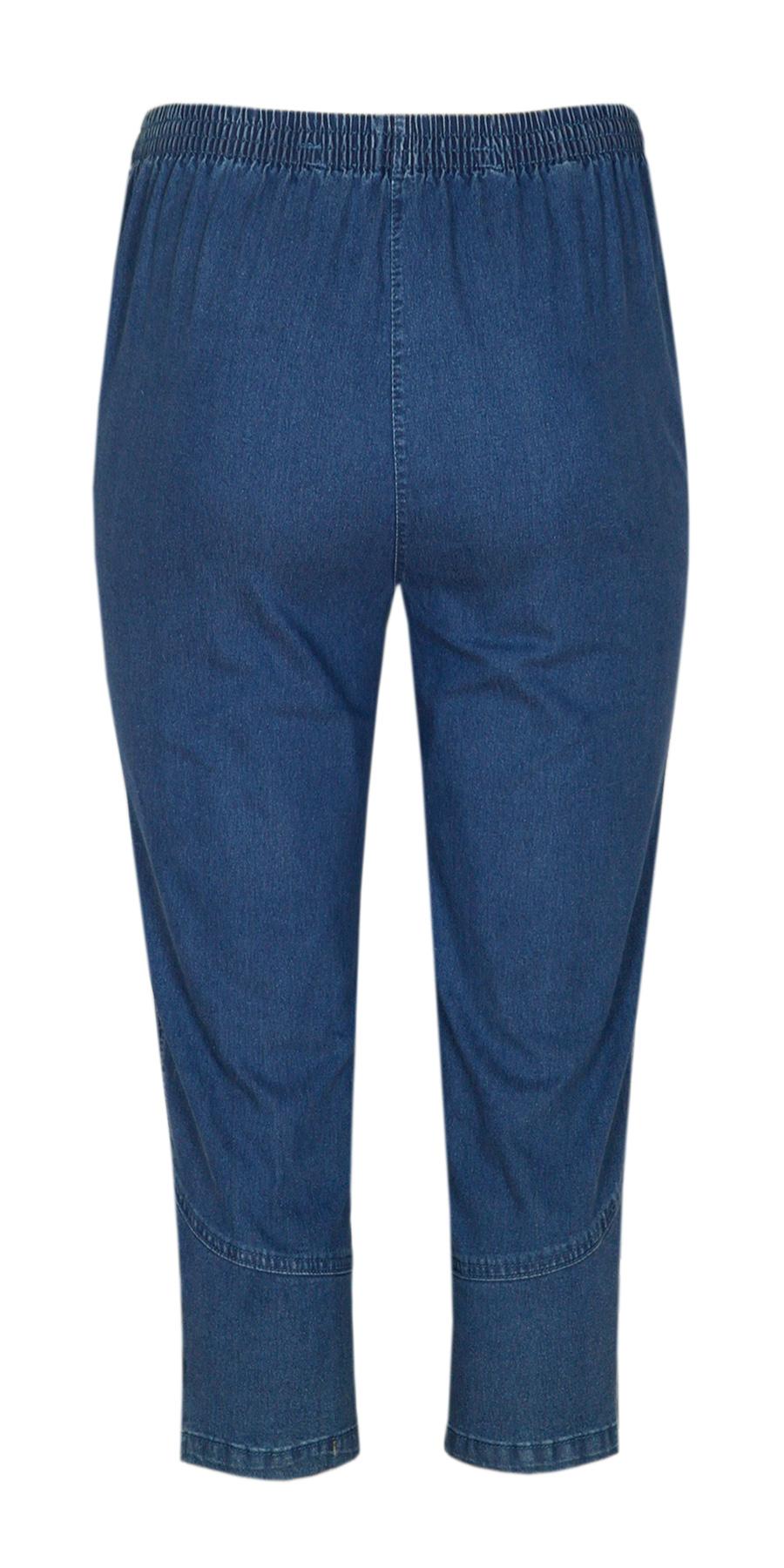 damen capri stretch jeans caprihose schlupfhose 3 4 l nge knopfleiste am saum ebay. Black Bedroom Furniture Sets. Home Design Ideas