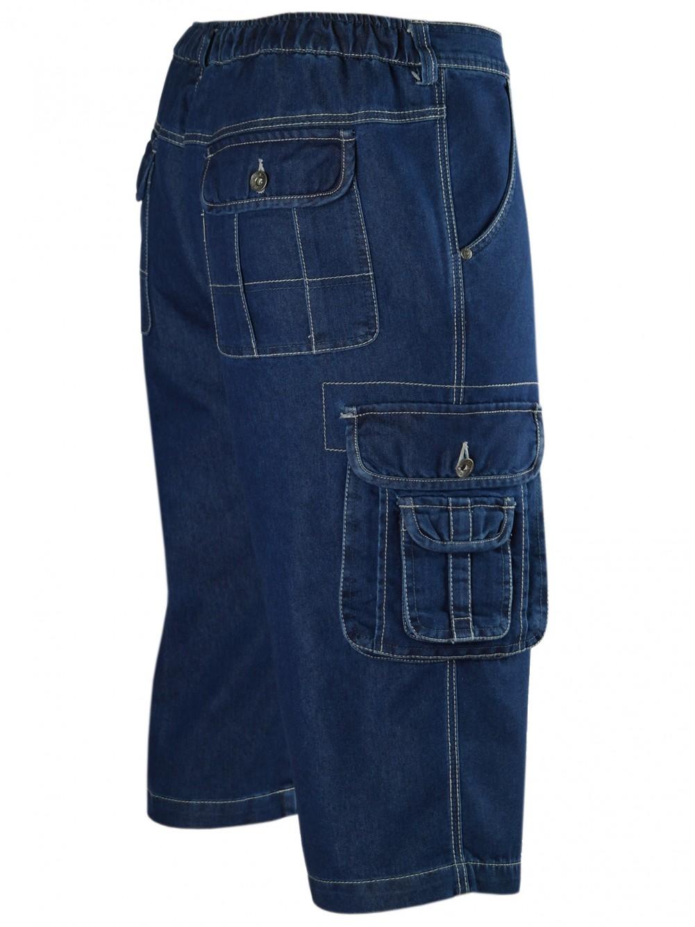 Herren Shorts Jeans Bermuda mit Cargotaschen - Seitenansicht