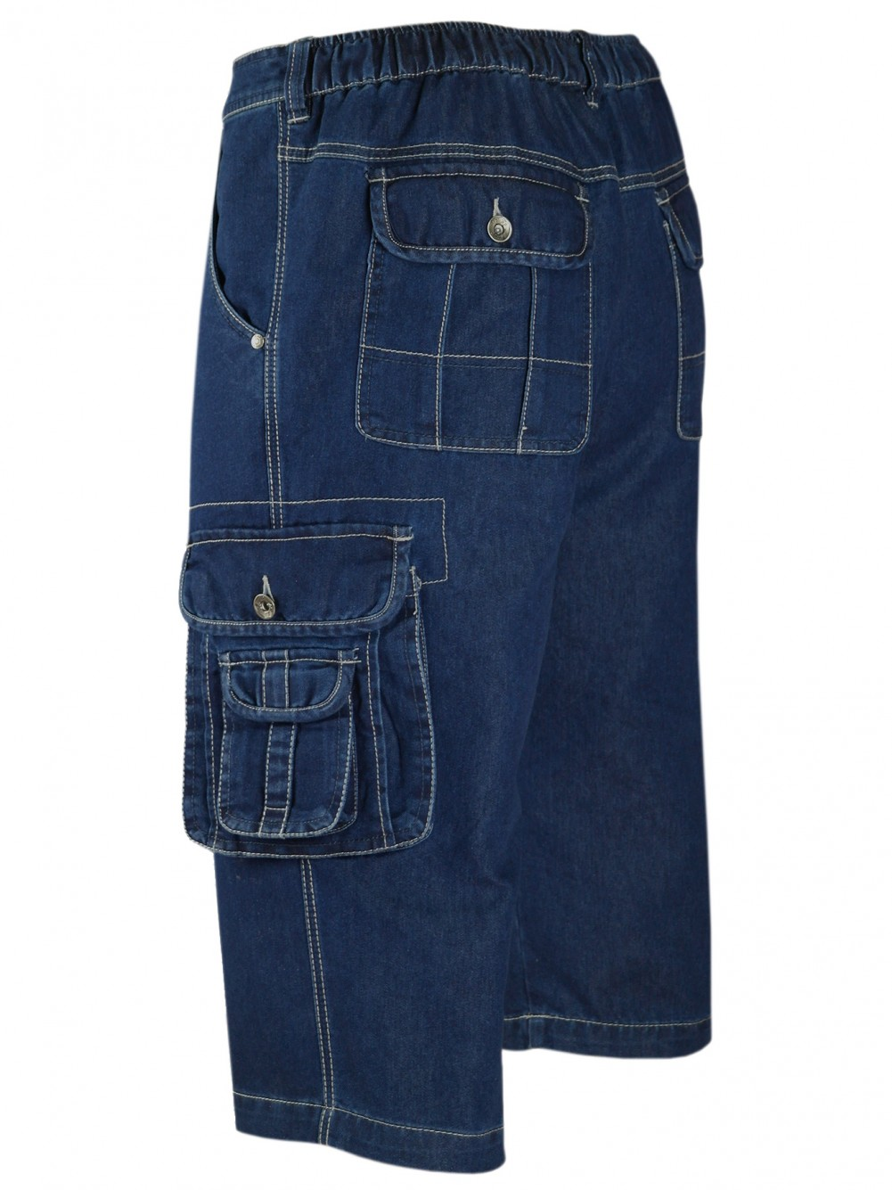 Herren Shorts Jeans Bermuda mit Cargotaschen - lSeitenansicht (Links)