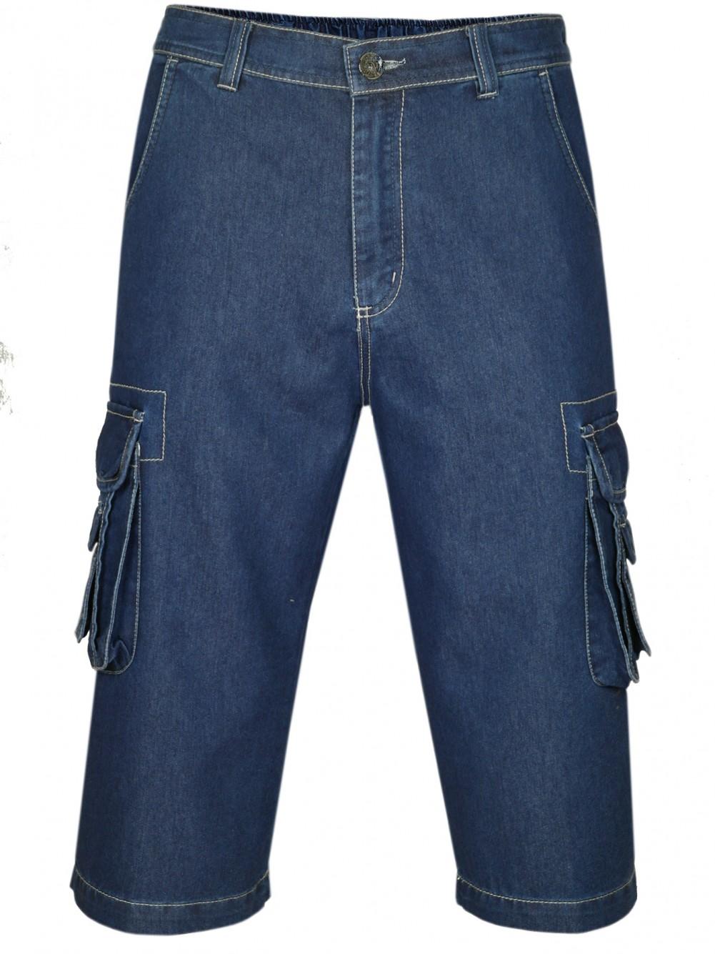 Herren Shorts Jeans Bermuda mit Cargotaschen