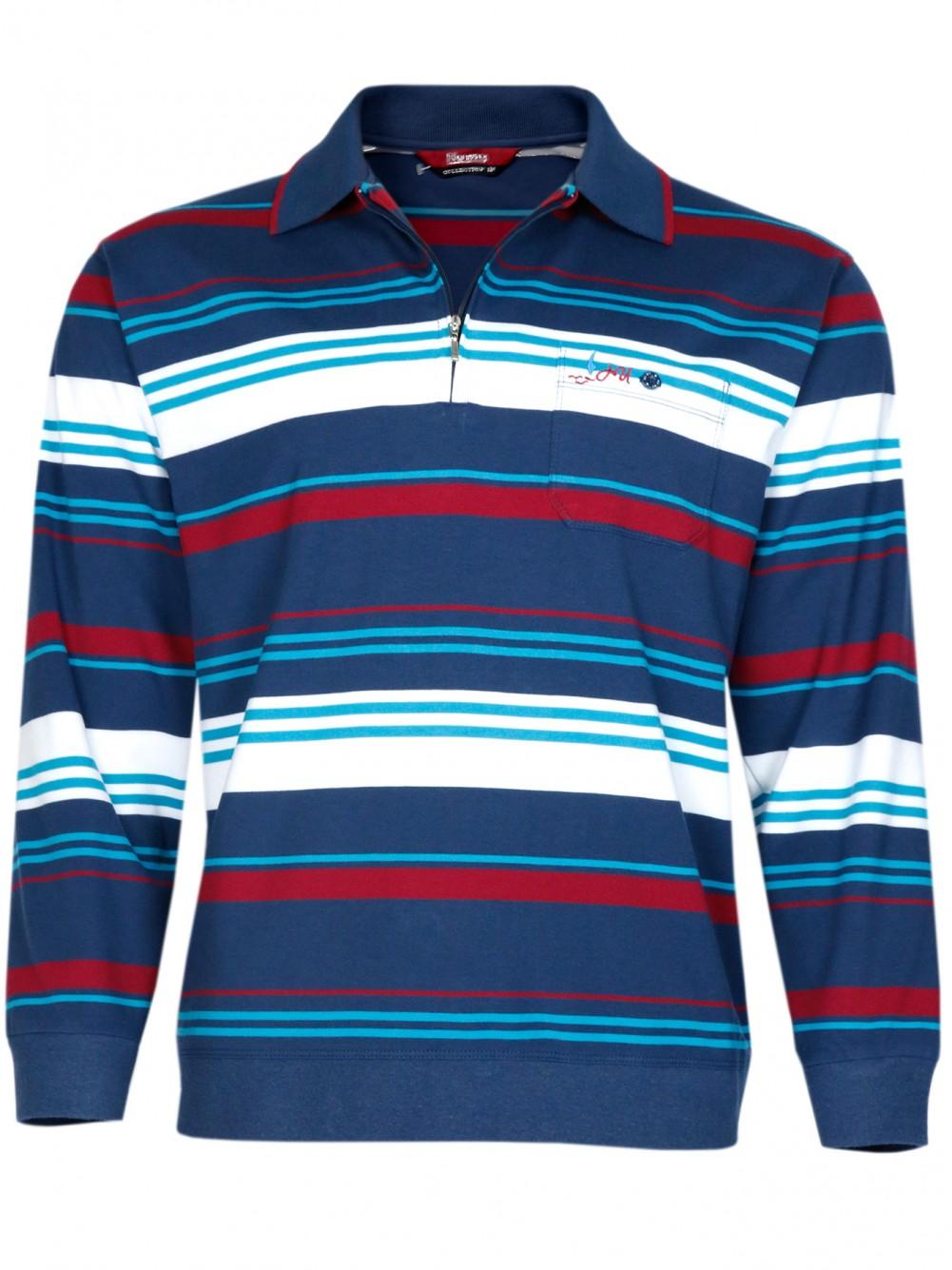 Herren Langarm-Poloshirts aus 100% Baumwolle - dunkelblau