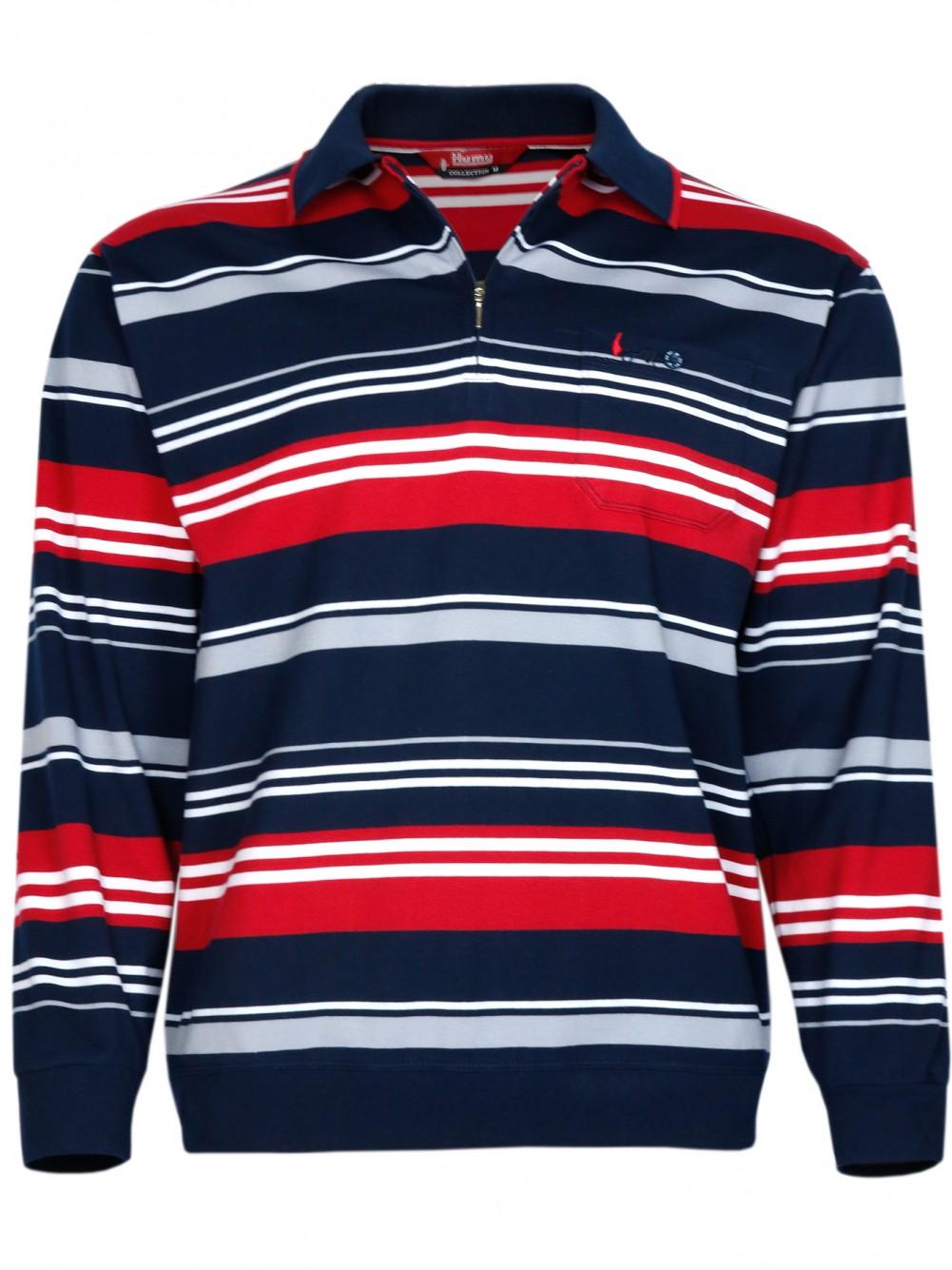 Herren Langarm-Poloshirts aus 100% Baumwolle - Navy