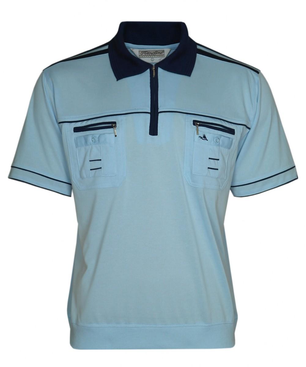 Blousonshirts Poloshirts mit kurzen Ärmeln - Hellblau
