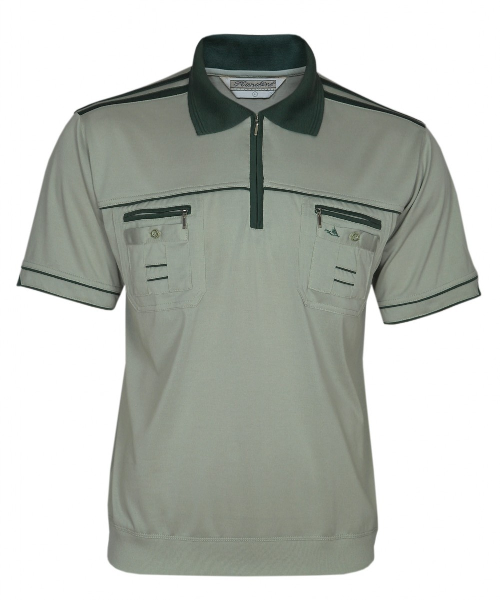 Blousonshirts Poloshirts mit kurzen Ärmeln - Oliv