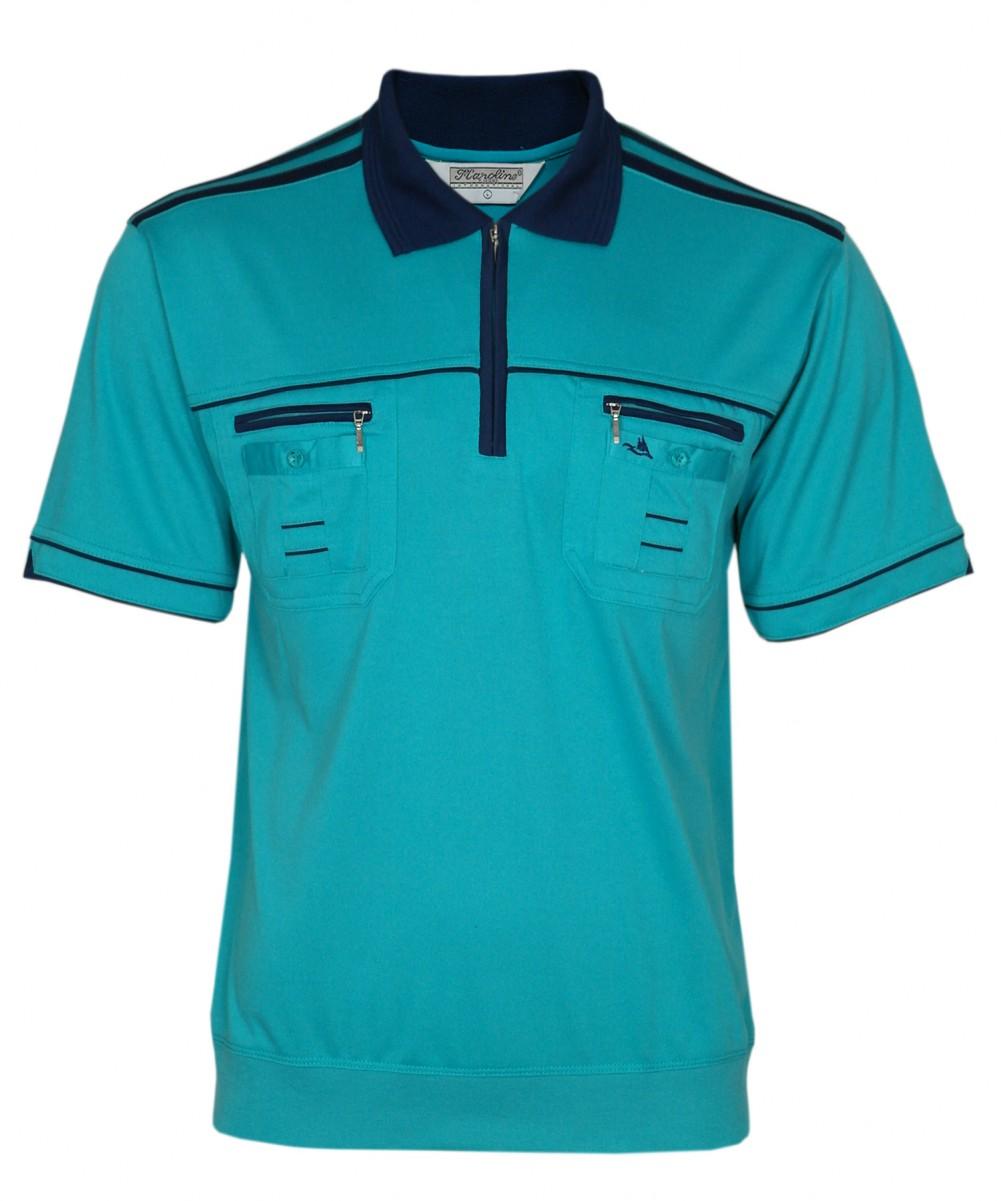 Blousonshirts Poloshirts mit kurzen Ärmeln - Türkis