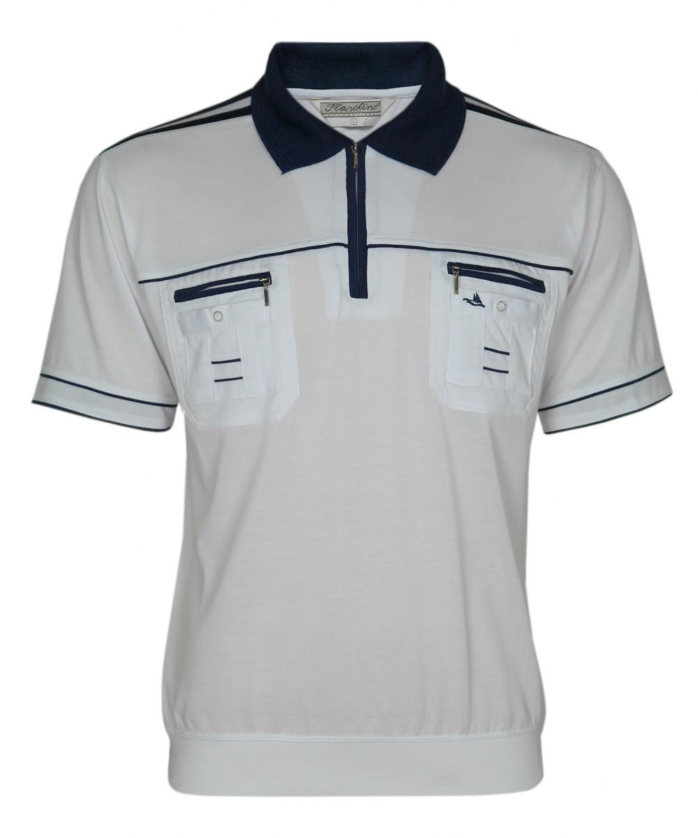 Blousonshirts Poloshirts mit kurzen Ärmeln - Weiss