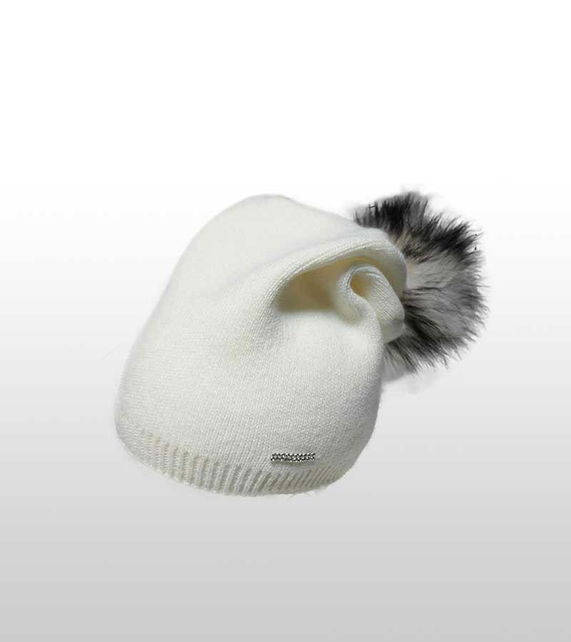 Mütze mit Kunstfell-Bommel Weiss