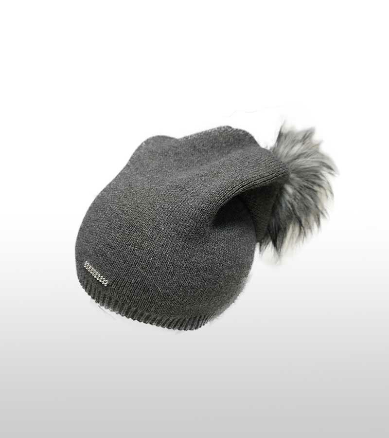 Mütze mit Kunstfell-Bommel Grau