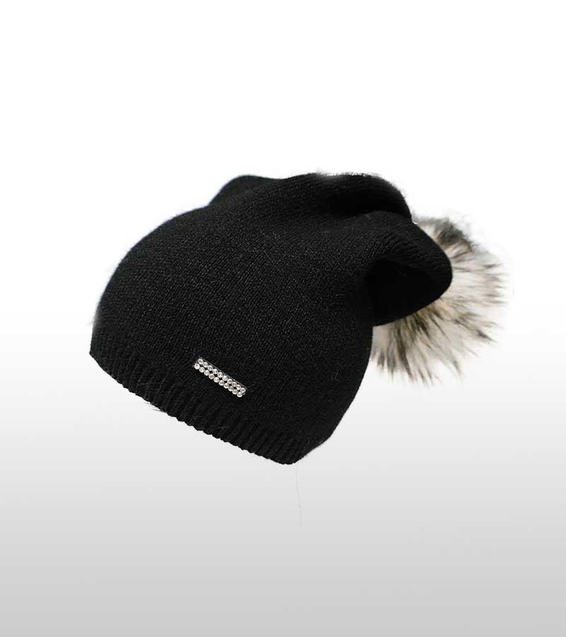 Mütze mit Kunstfell-Bommel schwarz