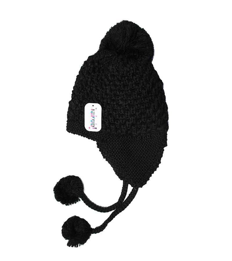 Grobstrickmütze mit Bommeln - schwarz
