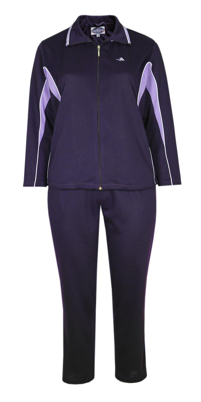 Damen Baumwoll Freizeit- Sportanzug Jogginganzug in fünf schönen Farbtönen - Dark violett