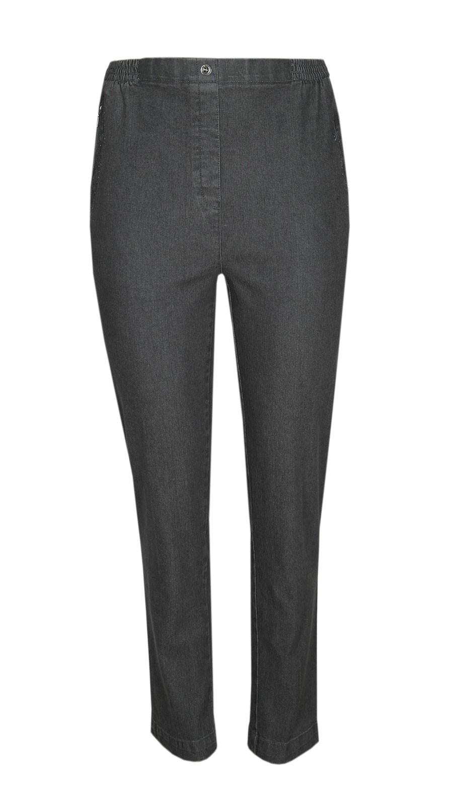 Damen Stretch Jeans Schlupfhose Schlupfjeans K-Größen - Herbst-Winter-Kollektion - grau