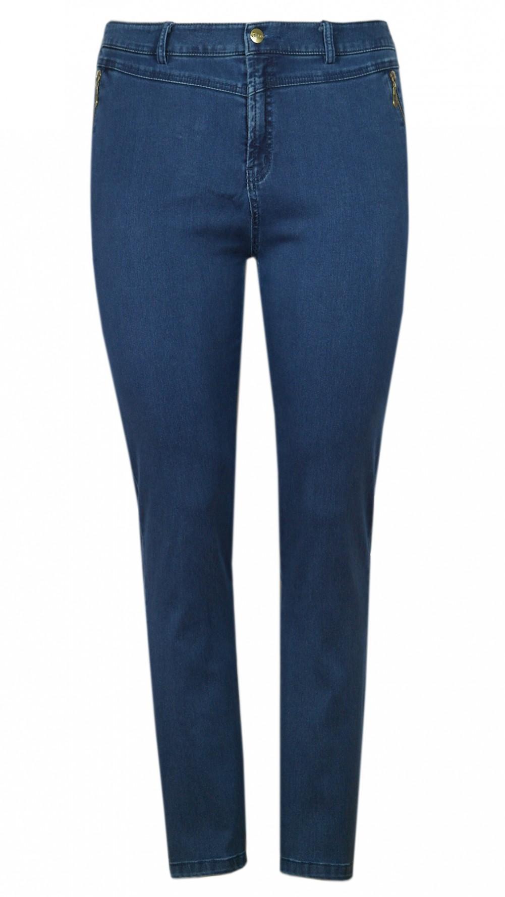 Damen Stretch-Jeans mit seitlichem Dehnbund - Blue/Front
