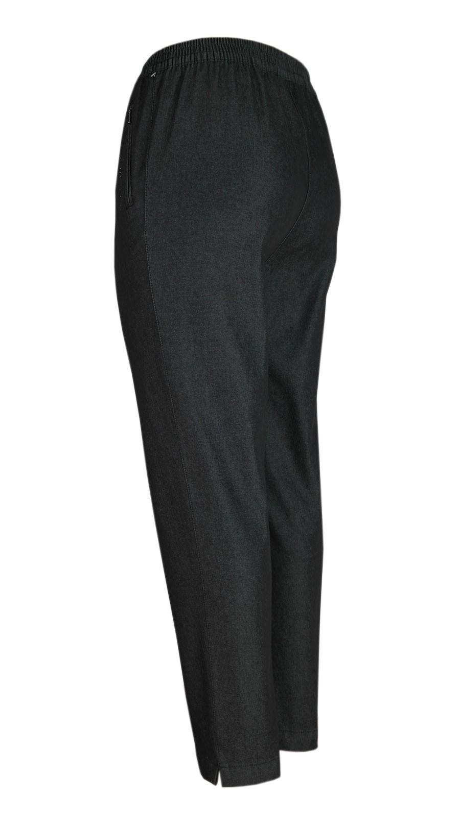 Damen Thermo Stretch Schlupfjeans Schlupfhose gefütterte Winter-Jeans - schwarz/Seitenansicht