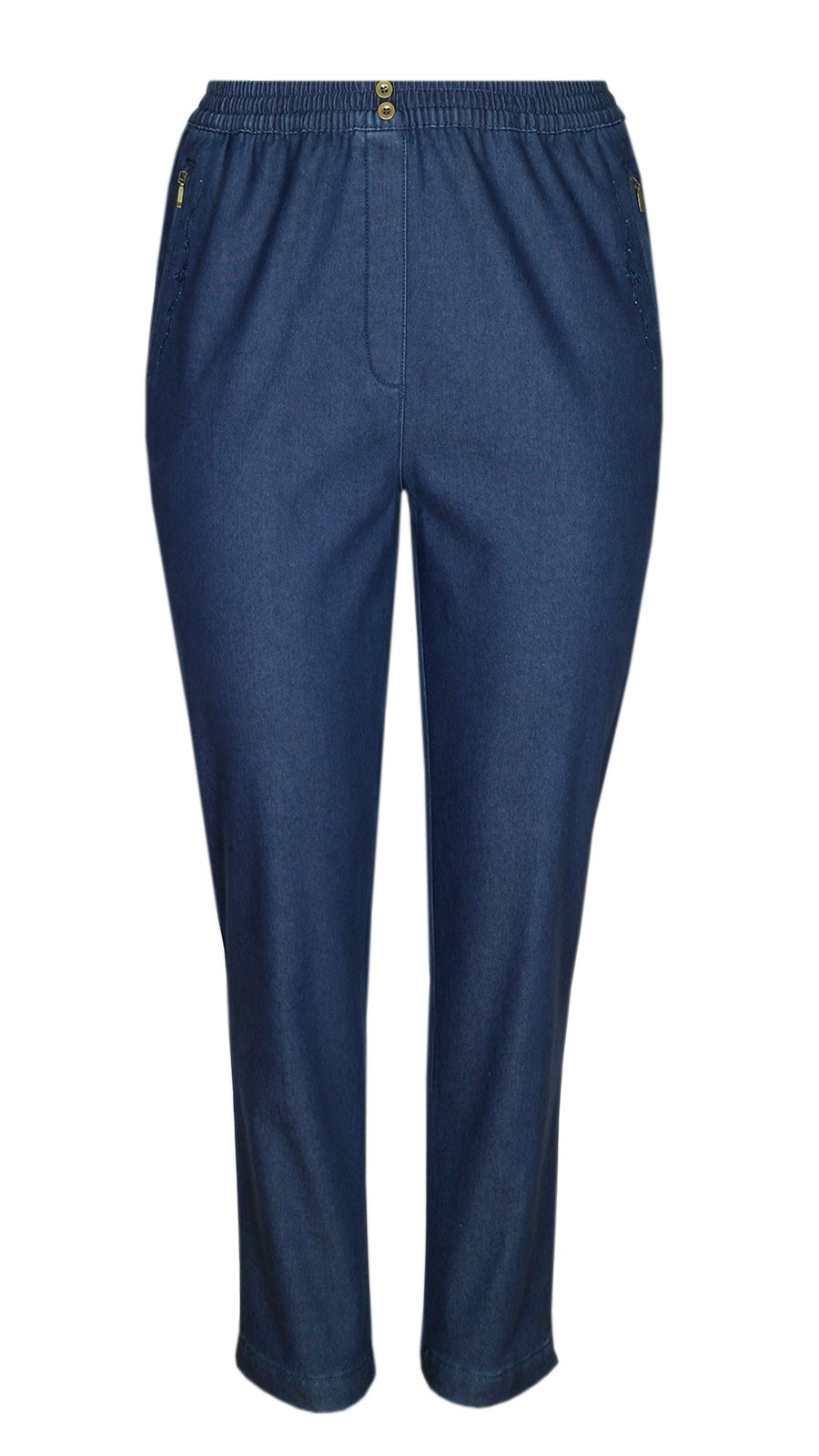 Damen Thermo Stretch Schlupfjeans Schlupfhose gefütterte Winter-Jeans - Blue