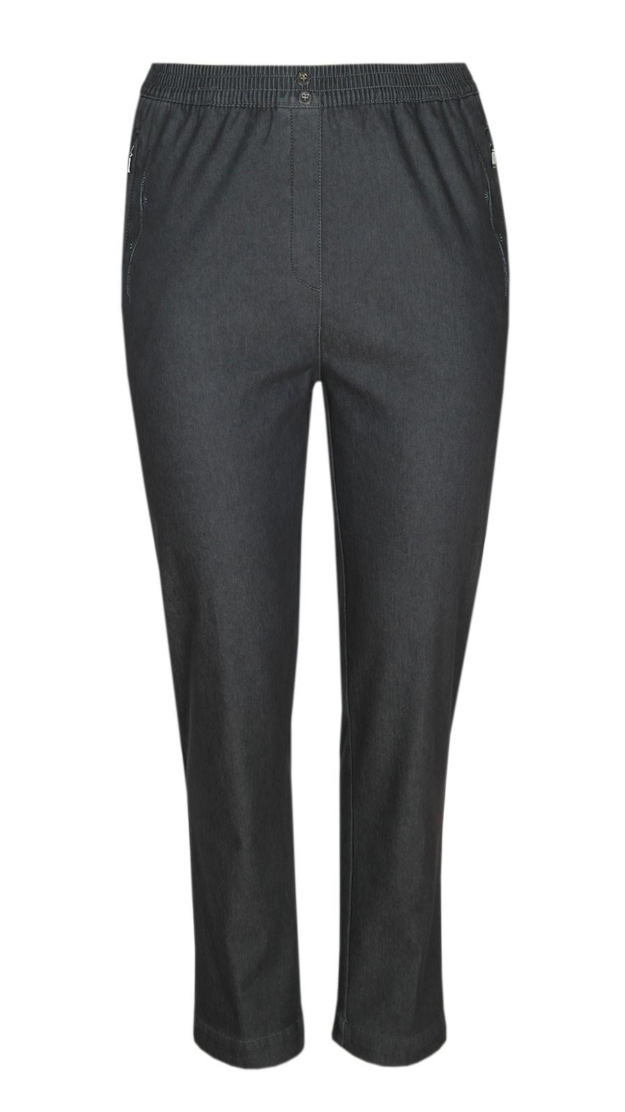 Damen Thermo Stretch Schlupfjeans Schlupfhose gefütterte Winter-Jeans - Grau
