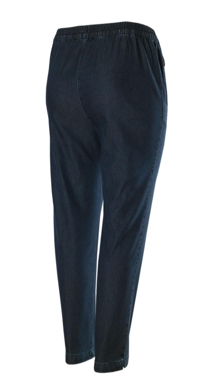 Damen Thermo Stretch Schlupfjeans Schlupfhose gefütterte Winter-Jeans - Navy/Seitenansicht