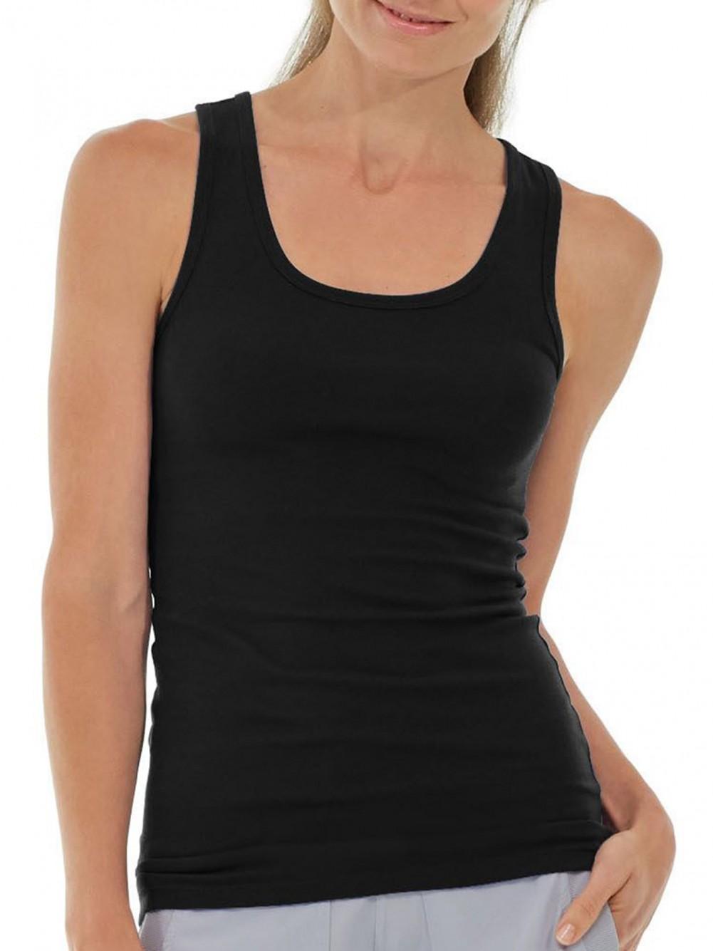 4 Damenunterhemden 100% Baumwolle breite Träge ohne Spitze - Schwarz