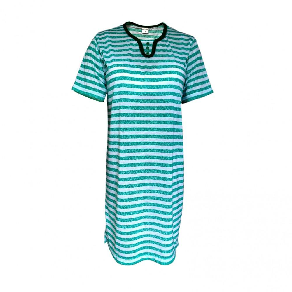 Kurzarm Damen Nachthemd aus 100% Baumwolle im Ringellook 6 Farben Aqua