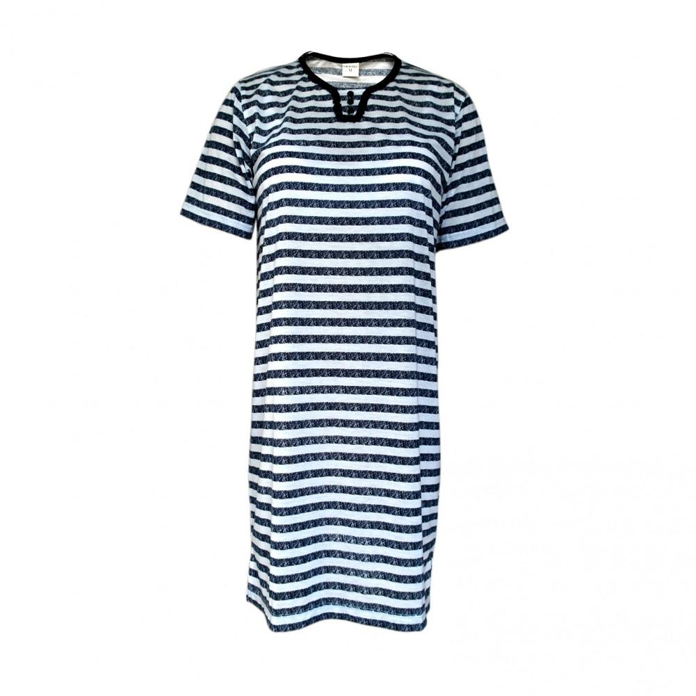 Kurzarm Damen Nachthemd aus 100% Baumwolle im Ringellook 6 Farben Dunkelblau