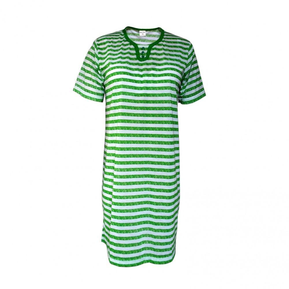 Kurzarm Damen Nachthemd aus 100% Baumwolle im Ringellook 6 Farben Grün