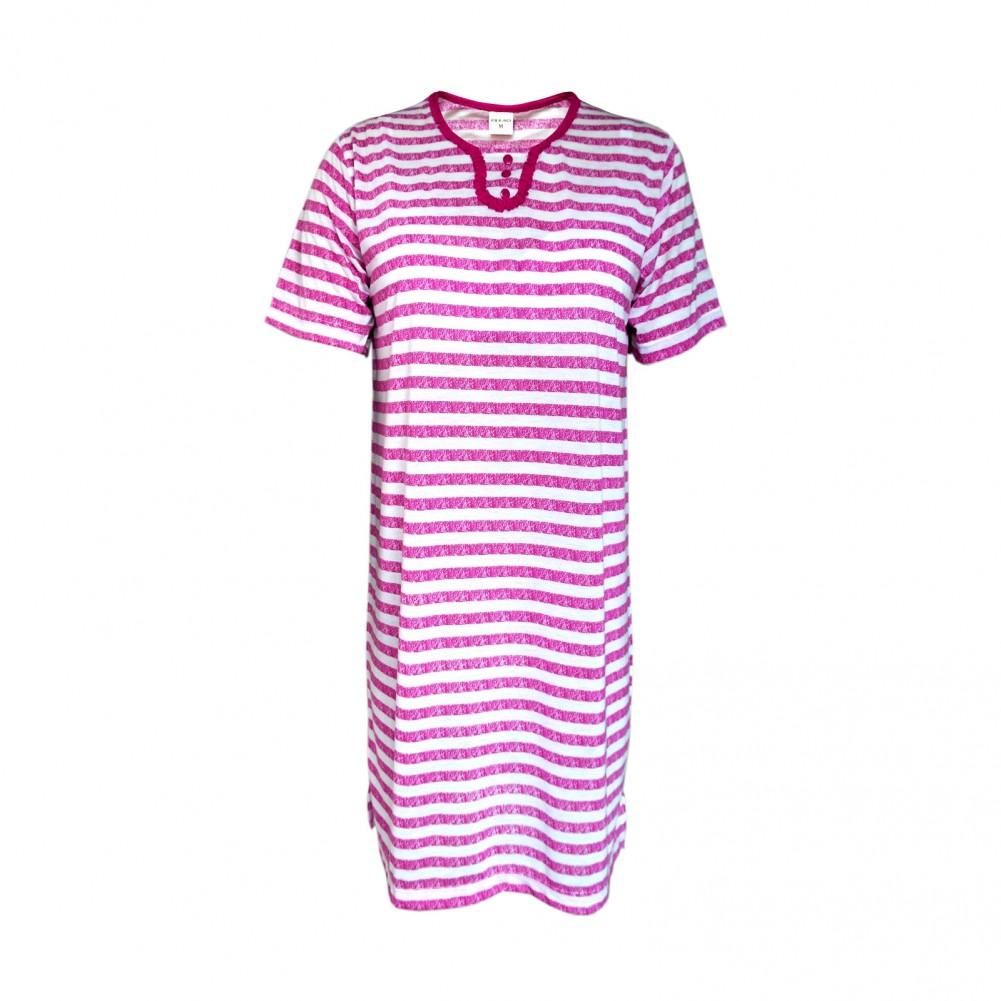 Kurzarm Damen Nachthemd aus 100% Baumwolle im Ringellook 6 Farben Lila