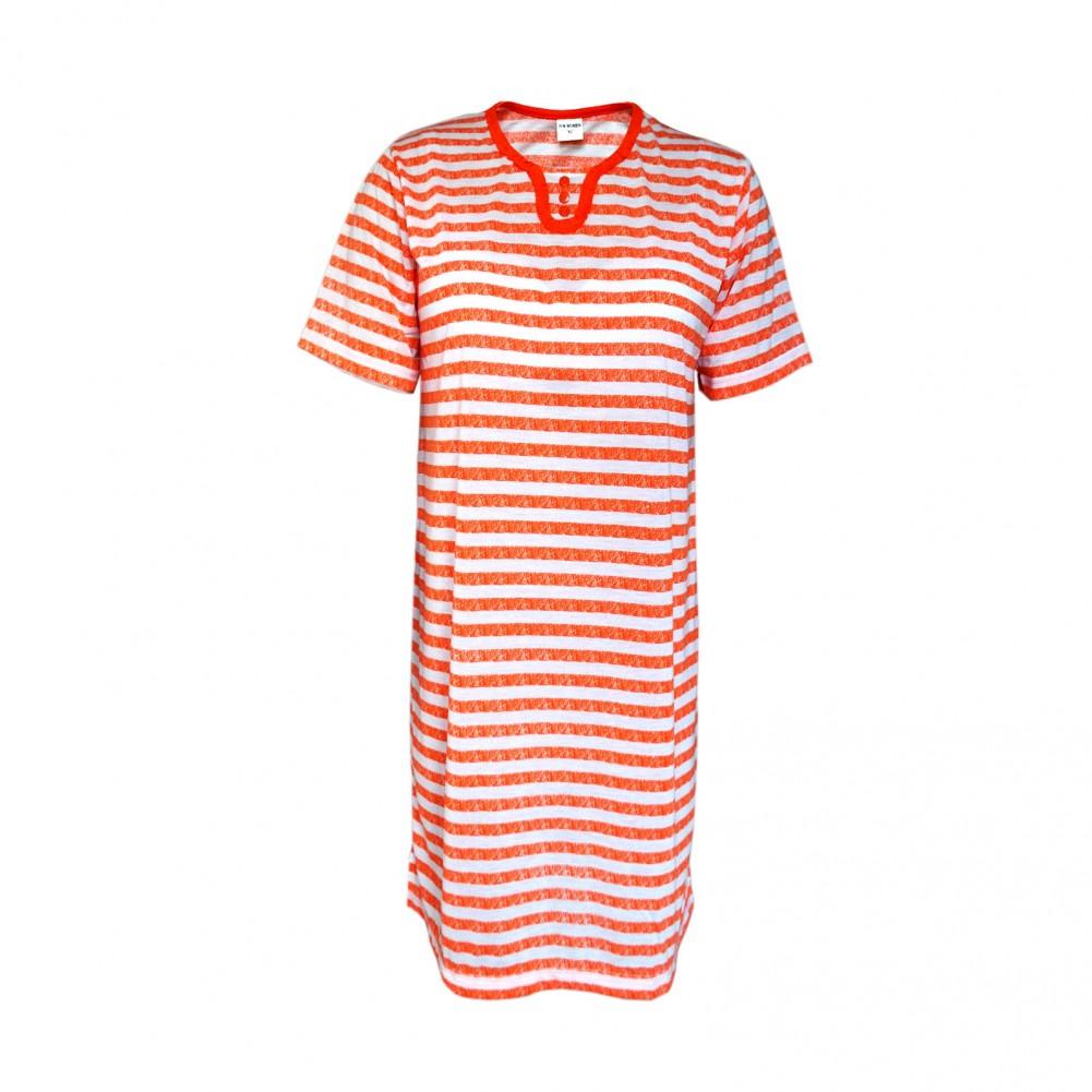 Kurzarm Damen Nachthemd aus 100% Baumwolle im Ringellook 6 Farben Orange