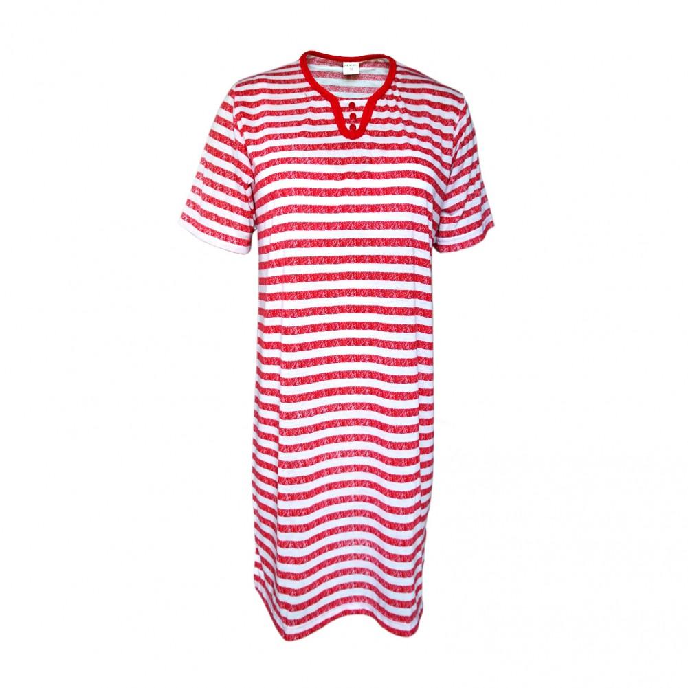Kurzarm Damen Nachthemd aus 100% Baumwolle im Ringellook 6 Farben Rot