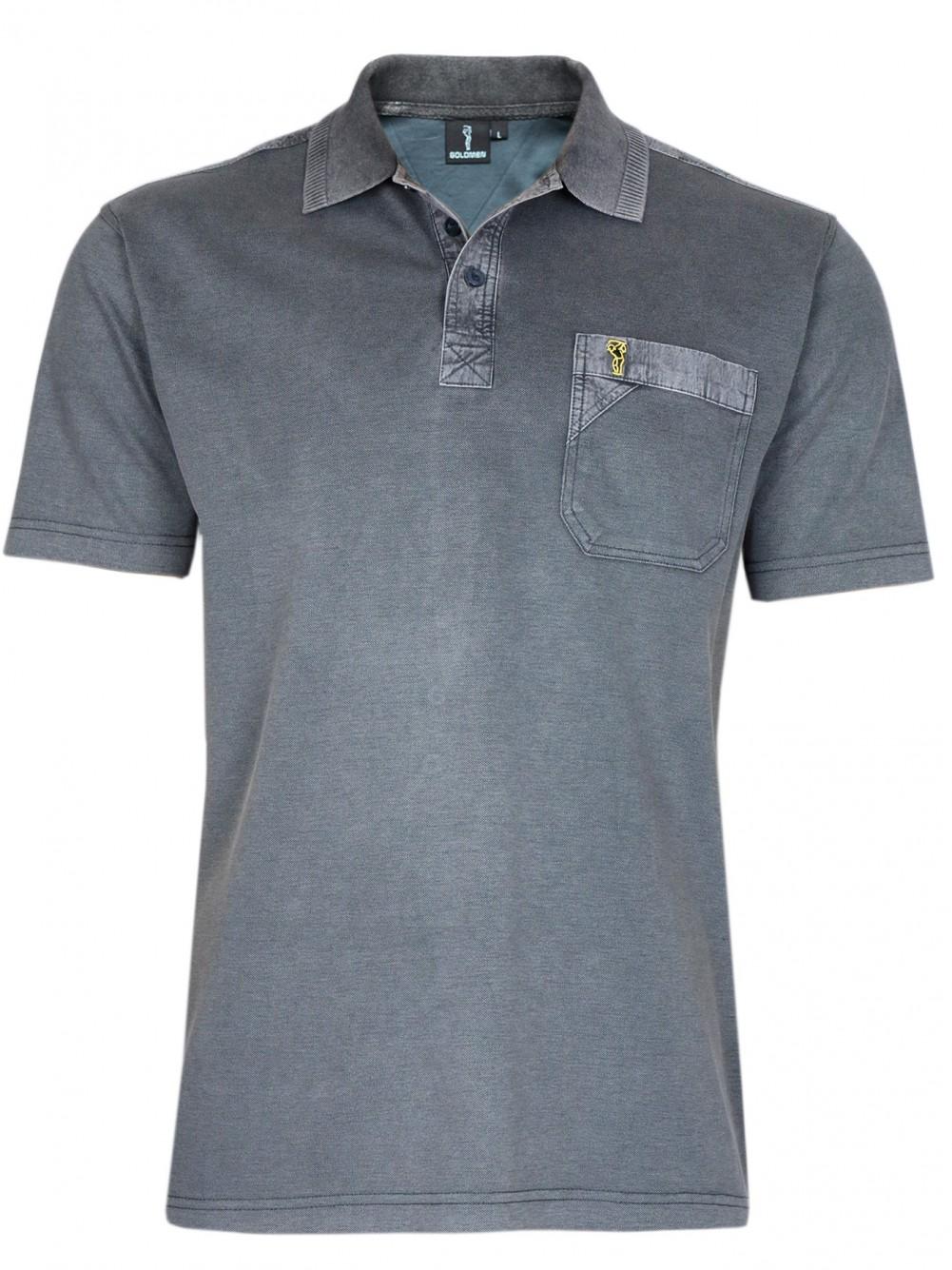 Poloshirt Piqué-Polo aus Baumwoll-Stretch - Anthrazit