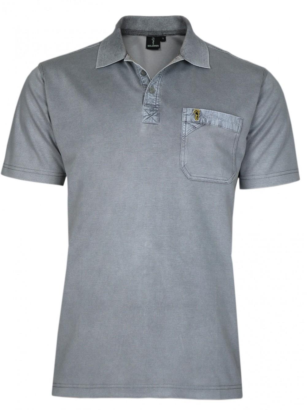 Poloshirt Piqué-Polo aus Baumwoll-Stretch - Hellgrau