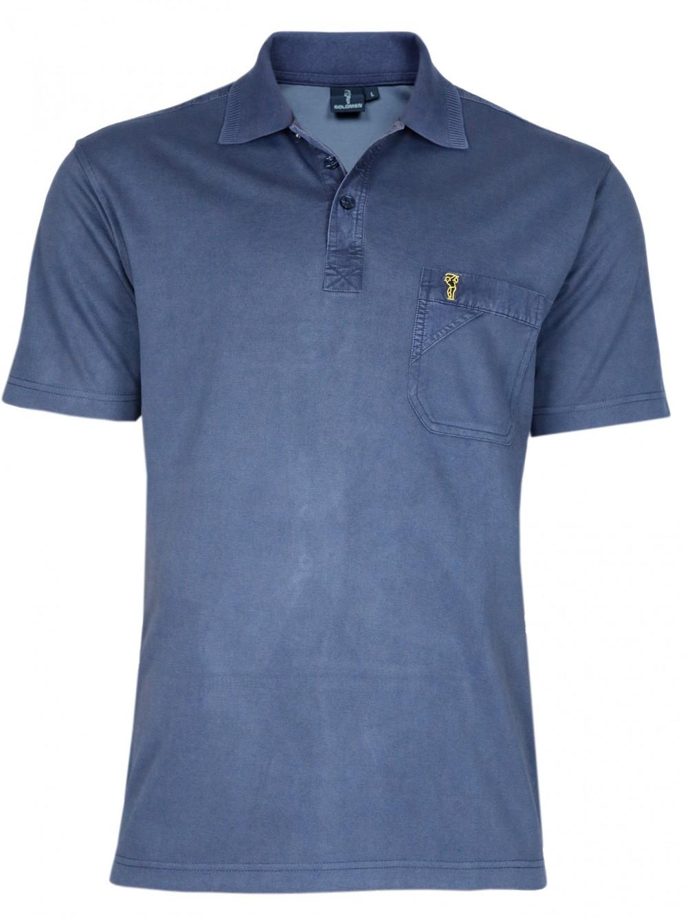 Poloshirt Piqué-Polo aus Baumwoll-Stretch - Navy