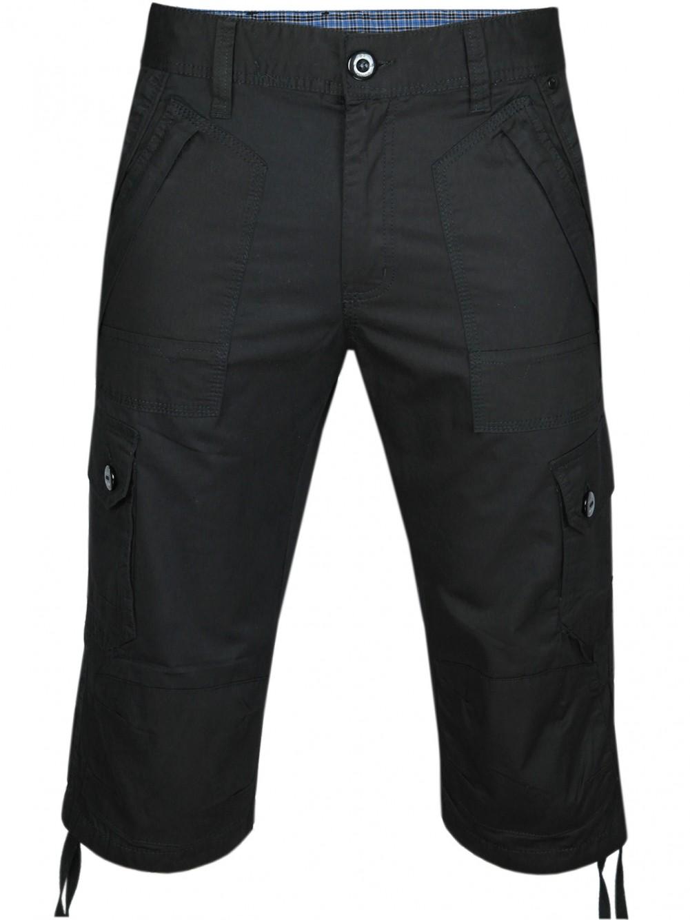 Herren Cargo-Bermudas in Capri Jeans-Style 100% Baumwolle - Schwarz