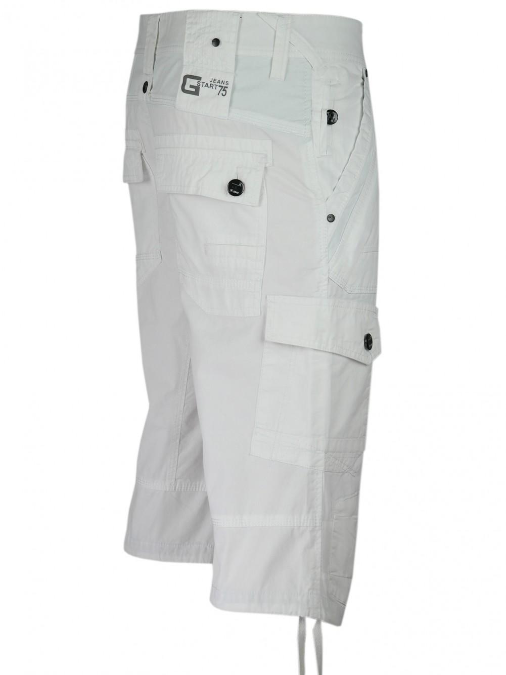 Herren Cargo-Bermudas in Capri Jeans-Style 100% Baumwolle - Weiss/Seitenansicht
