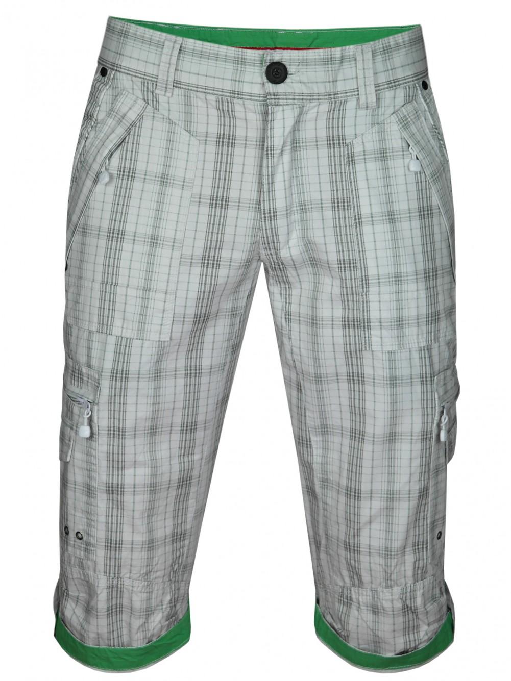 Herren Cargo-Bermudas in Capri Jeans-Style 100% Baumwolle - Weiss-Kariert
