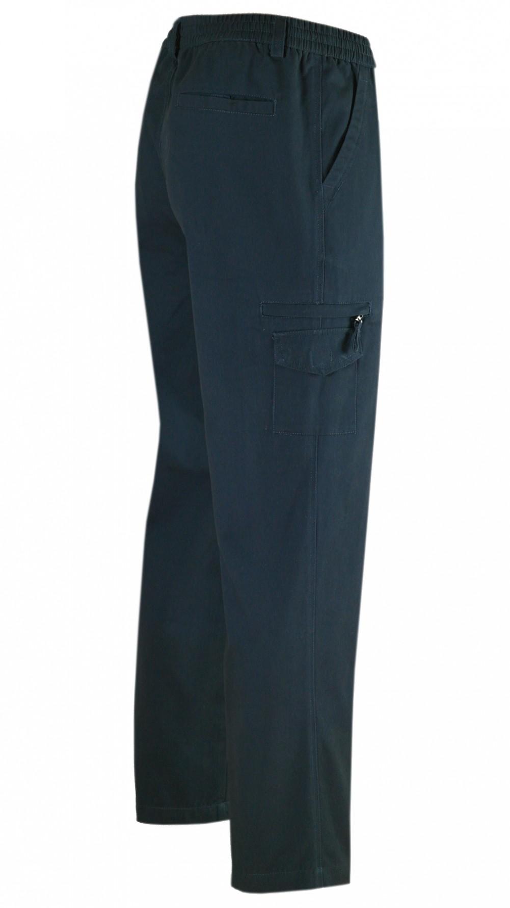 Dehnbund Hose Herren 100% Baumwolle - Navy/Seitenansicht