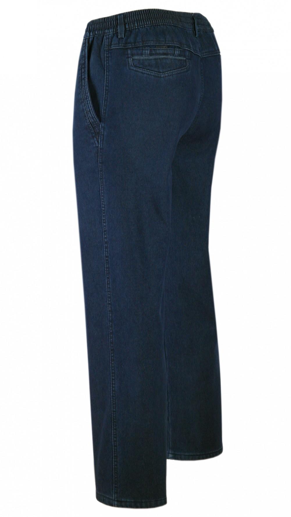 tretch-Thermo-Jeans Schlupfhose ohne Cargo-Taschen - Dunkelblau/Seitenansicht