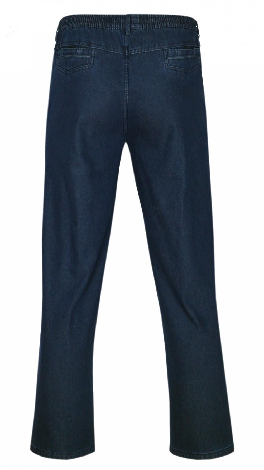 tretch-Thermo-Jeans Schlupfhose ohne Cargo-Taschen - Dunkelblau/Hinteransicht
