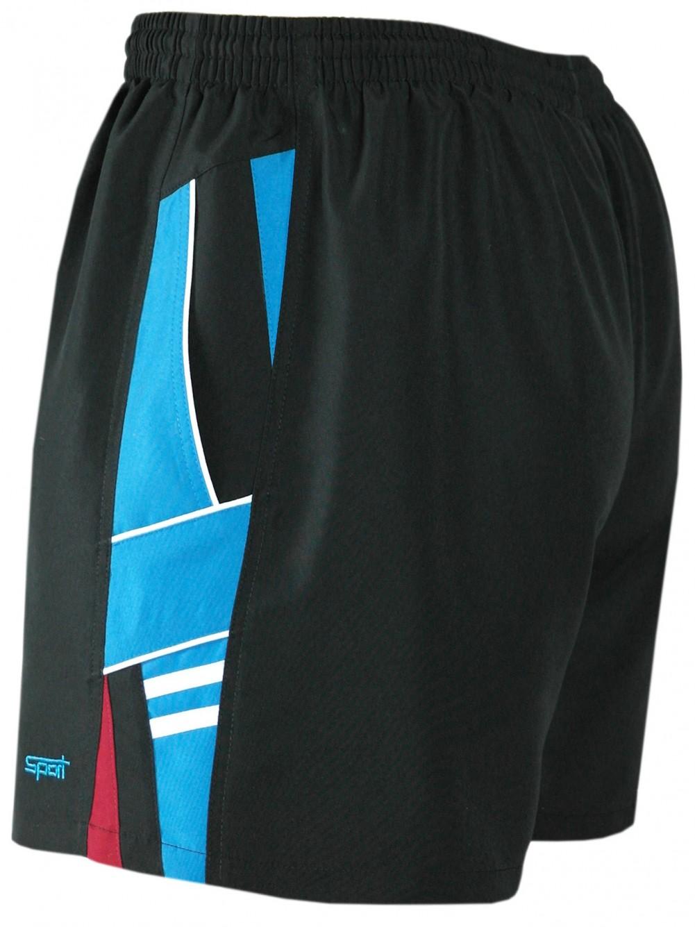 Herren Shorts kurze Hose aus ultra-leichter Mikrofaser - Schwarz-türkis