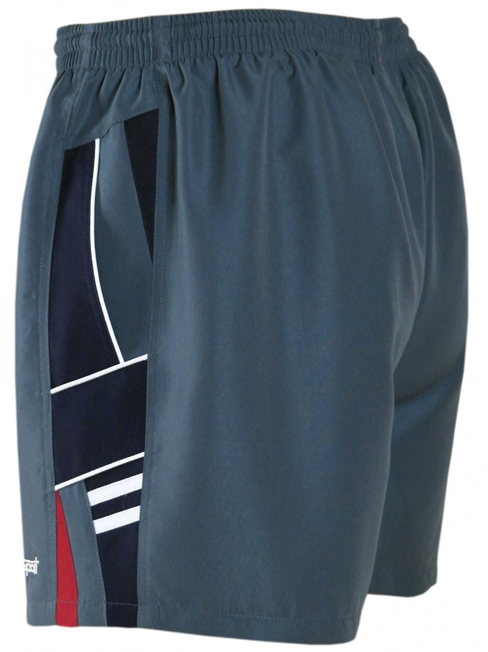 Herren Shorts kurze Hose aus ultra-leichter Mikrofaser - Grau-Navy
