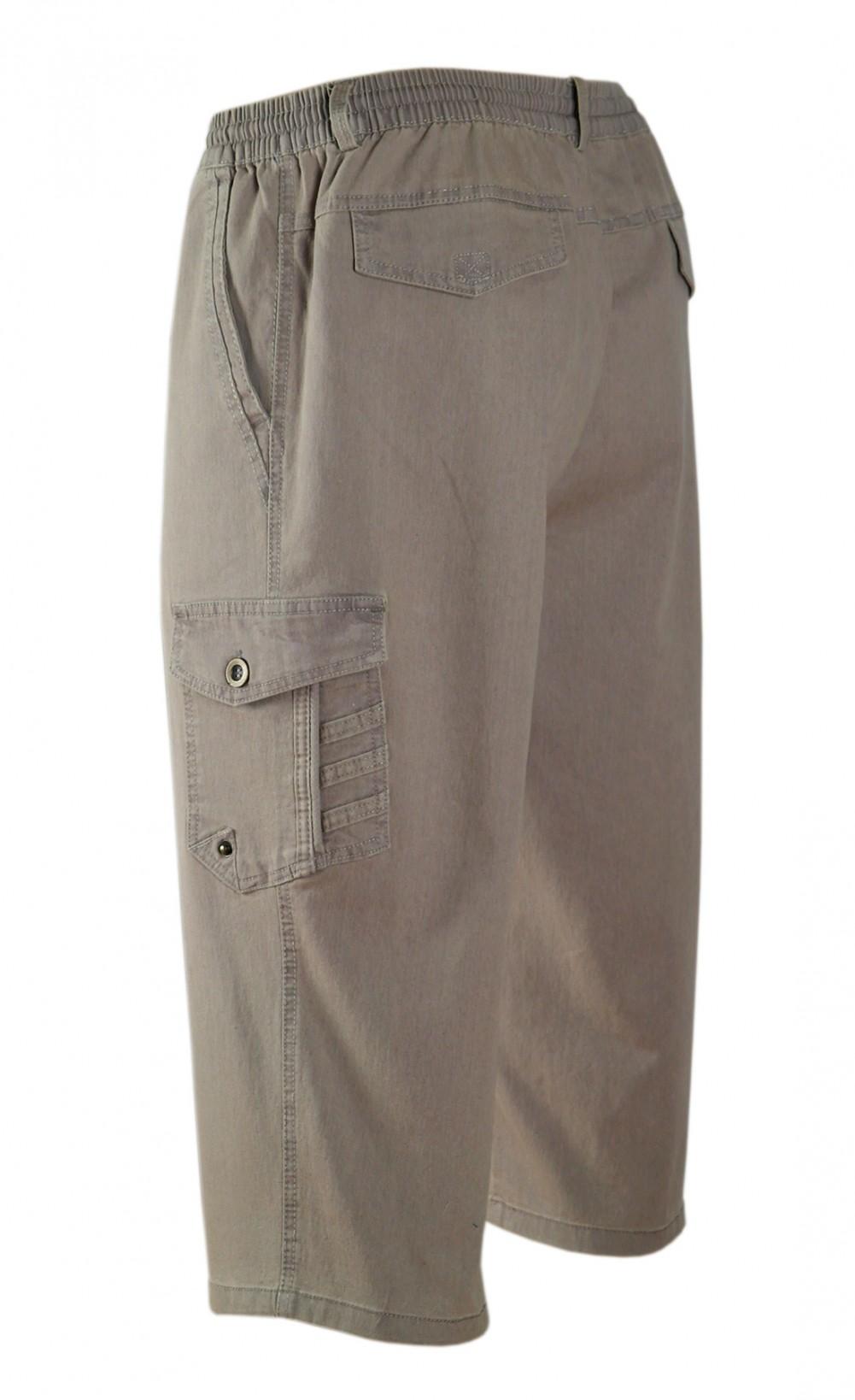 Stretch Caprijeans, 3/4 Cargo Shorts - Wadenlange Schlupfjeans Bermuda Herren - Beige