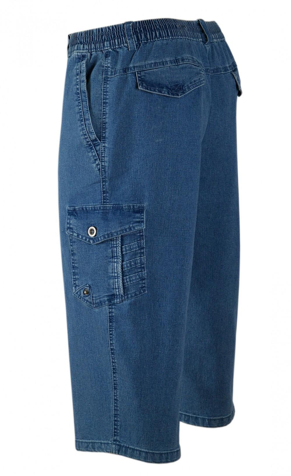 Stretch Caprijeans, 3/4 Cargo Shorts - Wadenlange Schlupfjeans Bermuda Herren - Blue/Seitenansicht