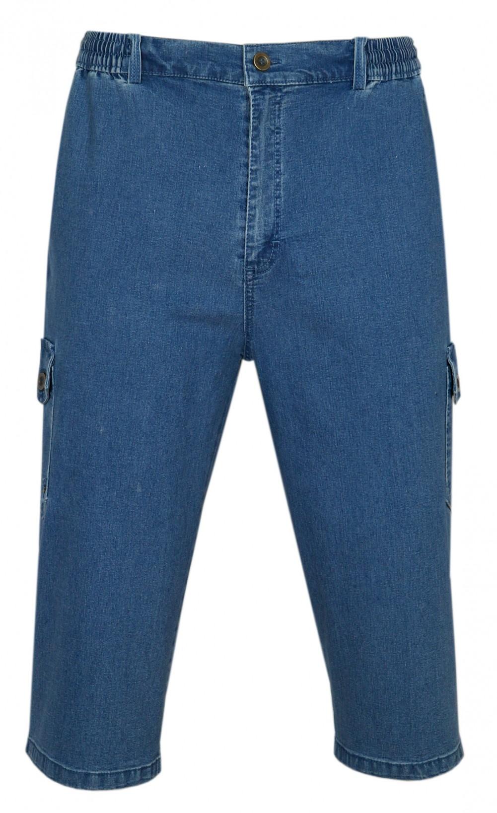 Stretch Caprijeans, 3/4 Cargo Shorts - Wadenlange Schlupfjeans Bermuda Herren - Blue