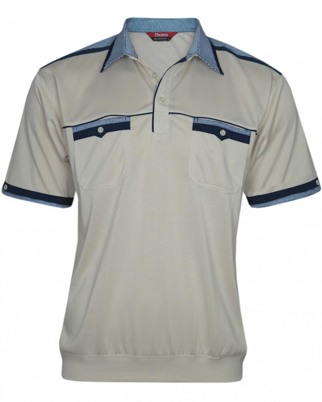 Kurzarm Herren-Poloshirts, Blousonshirts mit kariertem Kragen - beige