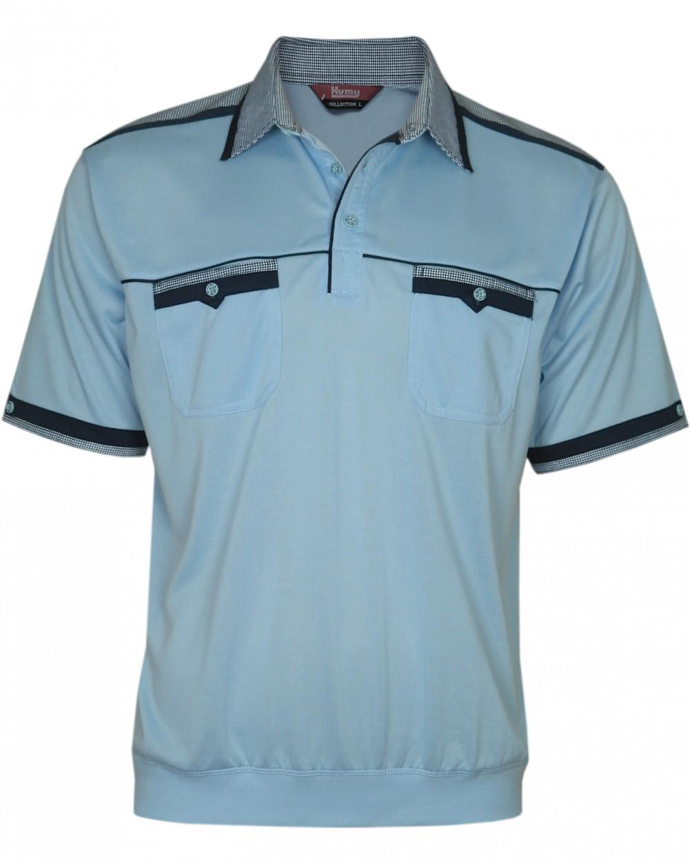 Kurzarm Herren-Poloshirts, Blousonshirts mit kariertem Kragen - Blau
