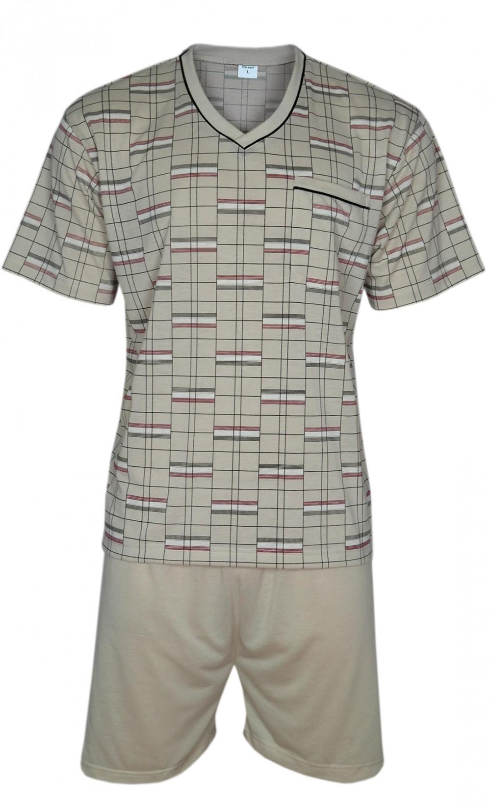 FORMEN - Kurzer Herrenschlafanzug, Pyjama mit Shorty 100% Baumwolle - Beige