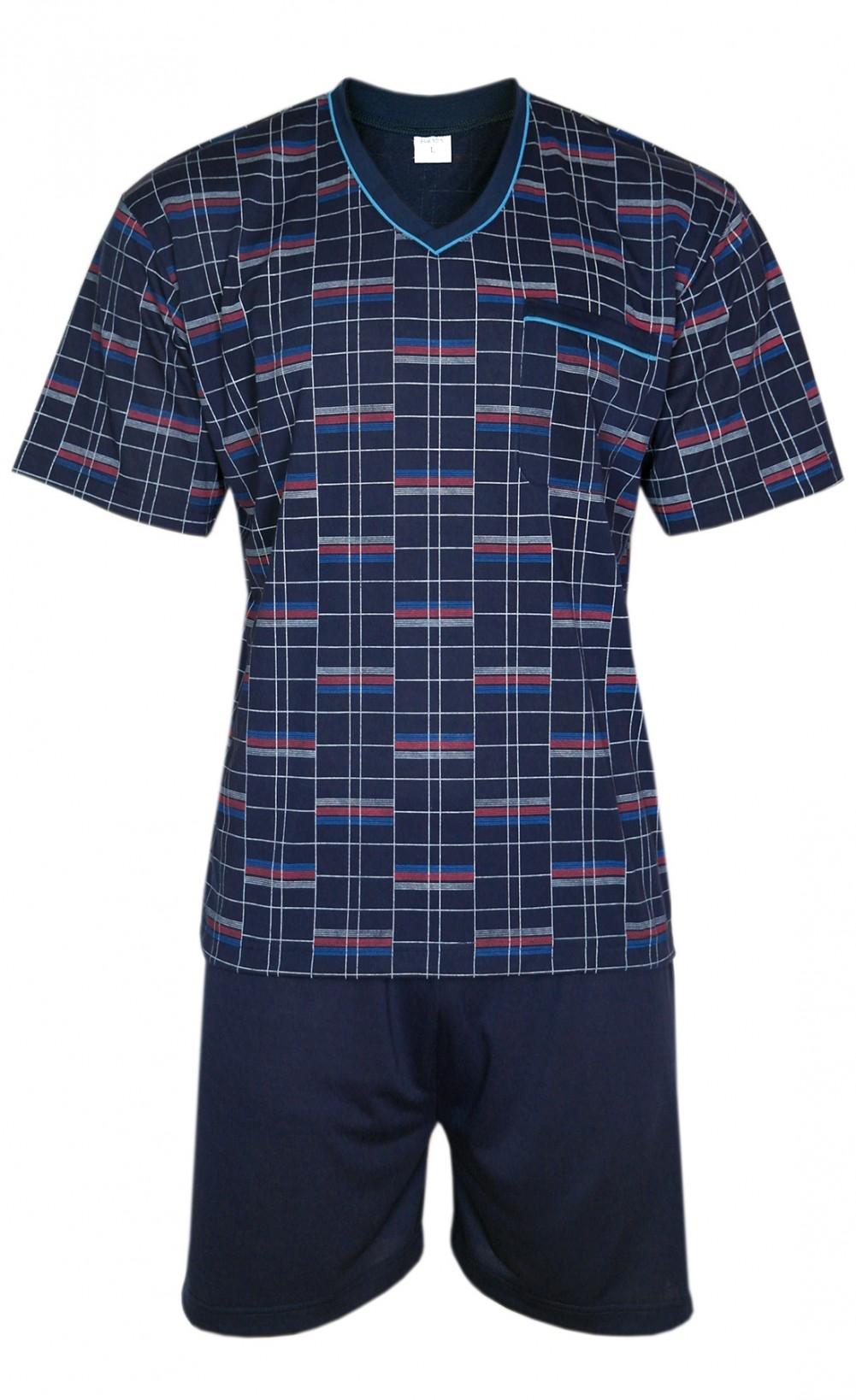 FORMEN - Kurzer Herrenschlafanzug, Pyjama mit Shorty 100% Baumwolle - Navy