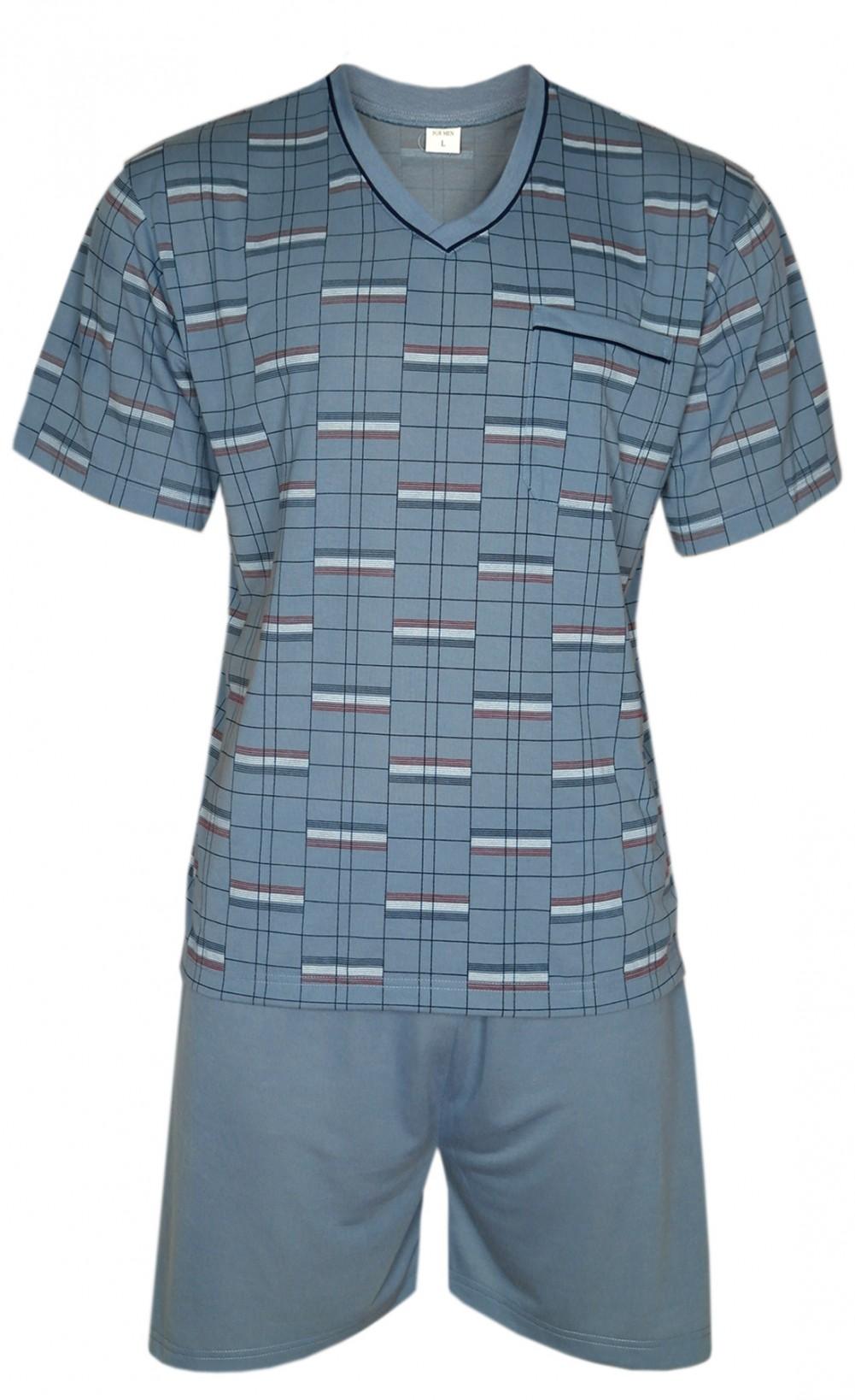 FORMEN - Kurzer Herrenschlafanzug, Pyjama mit Shorty 100% Baumwolle - Stahlblau