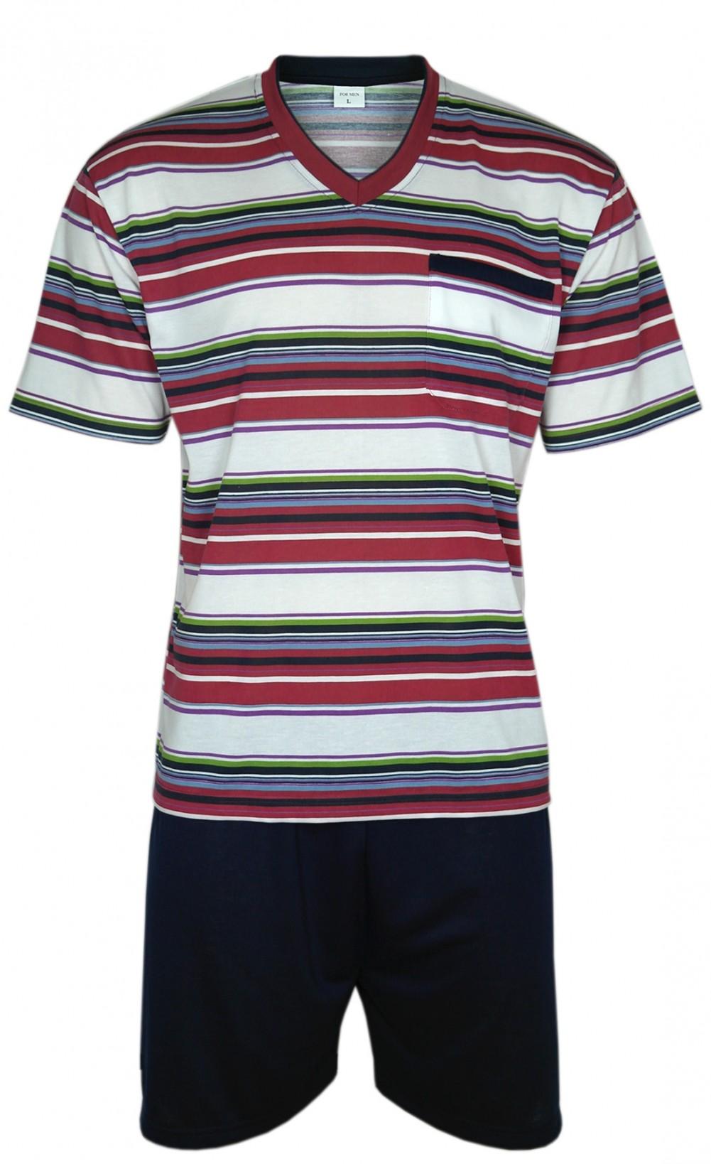 urzer Herren Pyjama/Schlafanzug im Ringellook - Rot