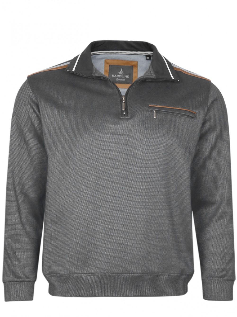 Herren Baumwoll-Piqué Polo-Shirt in Blouson-Form - Anthrazit