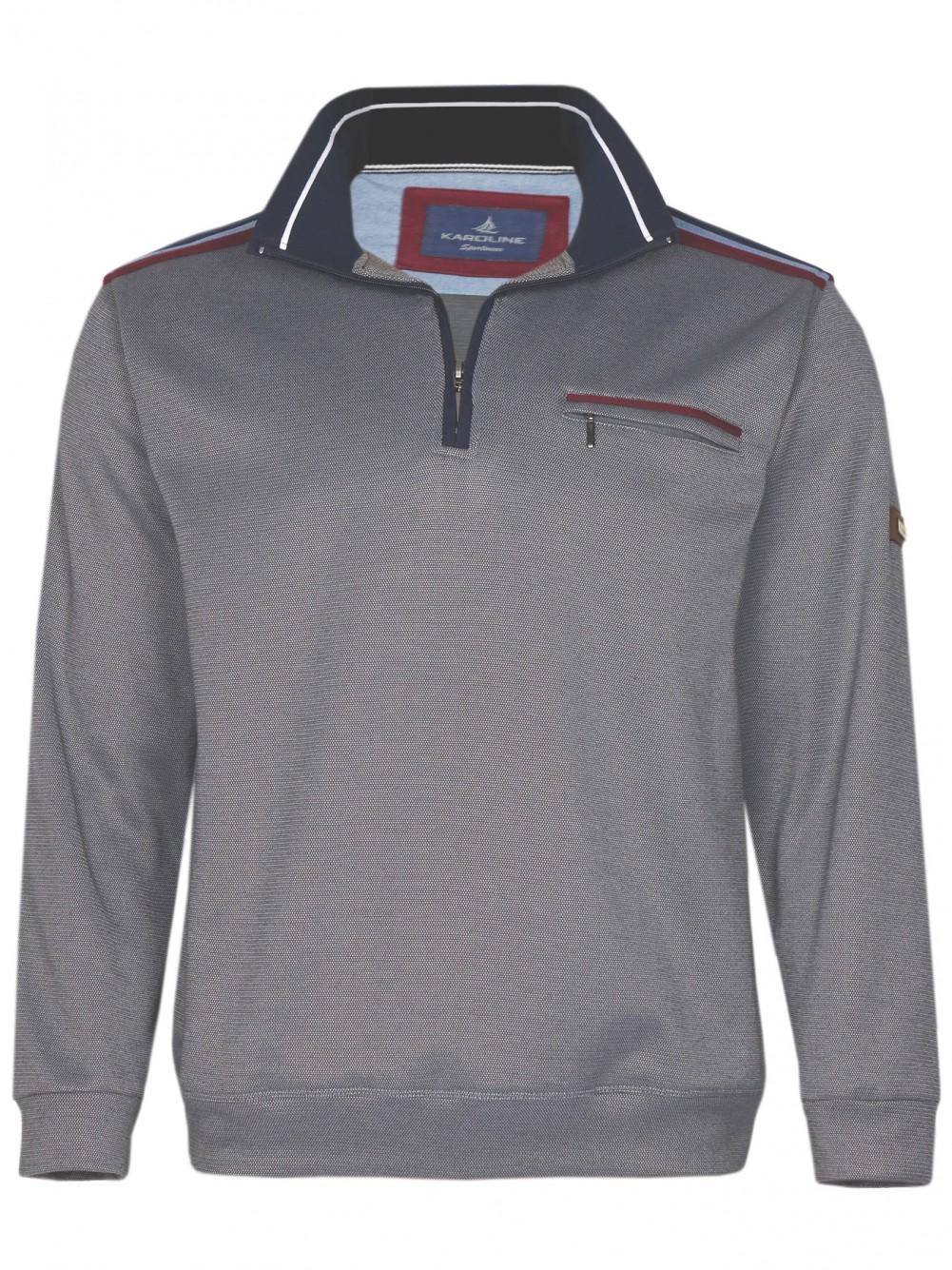 Herren Baumwoll-Piqué Polo-Shirt in Blouson-Form - Grau